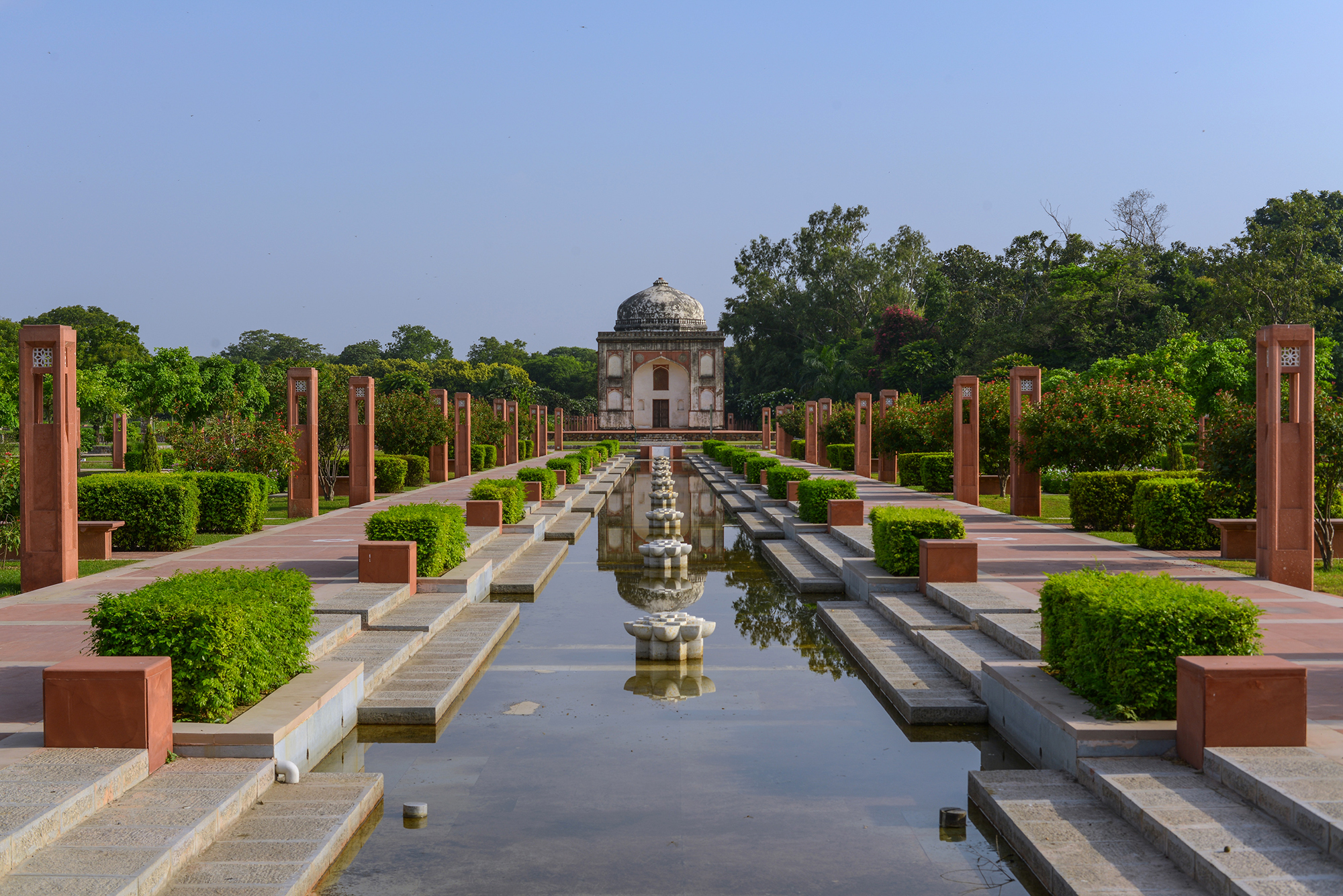 Sundar Nursery's Central Axis with the 16th century Sundar Burj in the backdrop, New Delhi, India.
